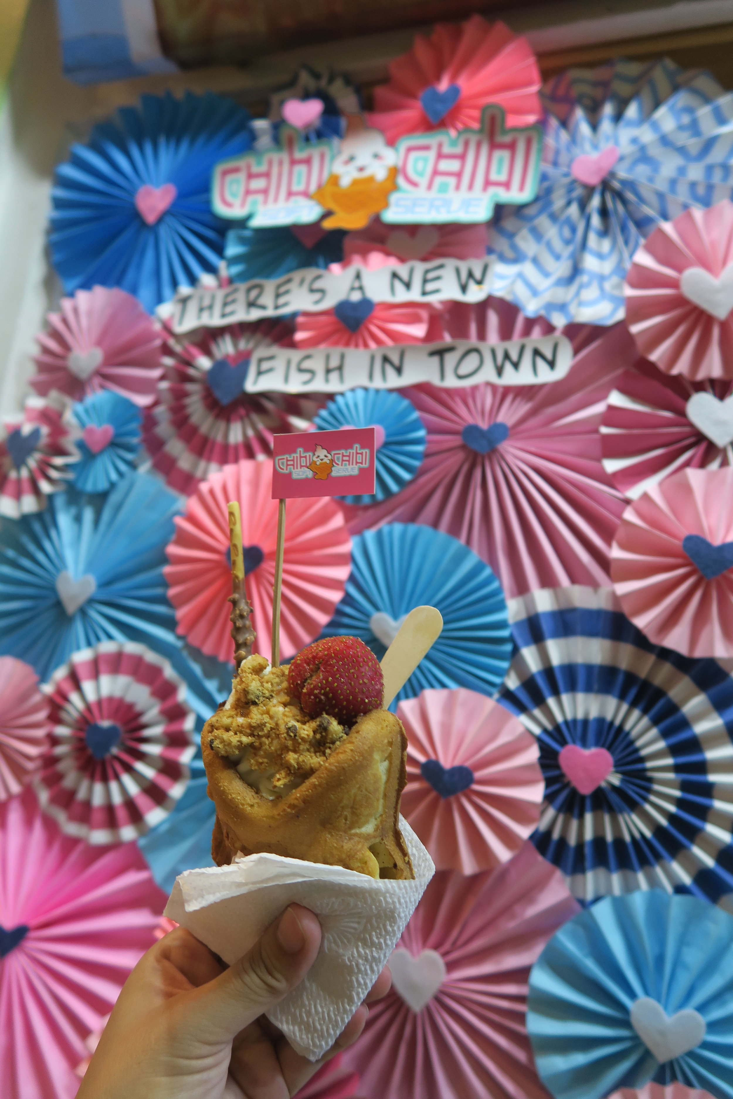 Sample of our Taiyaki parfait in our paper fan backdrop