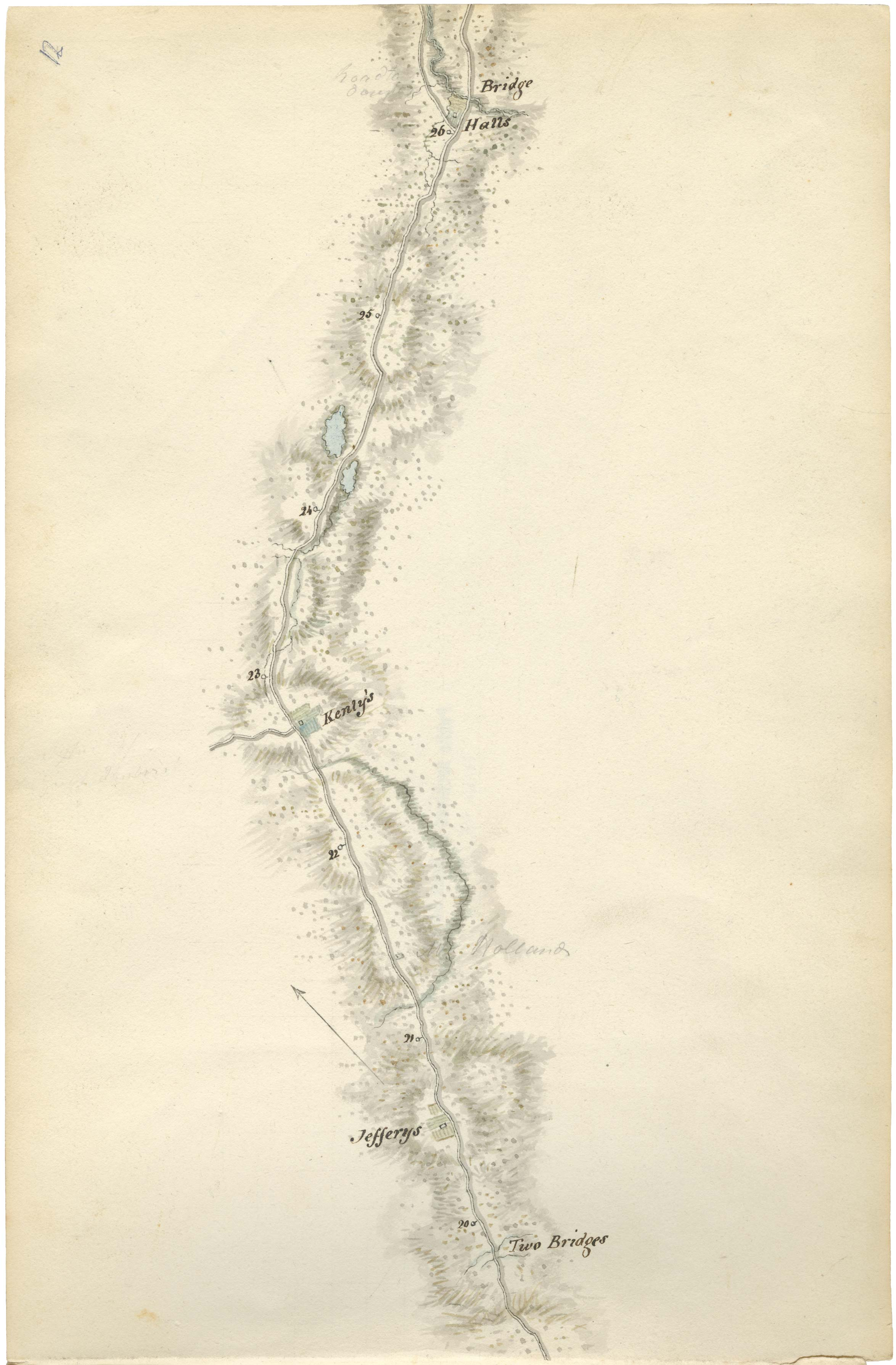 Woolford's Surveys - 1818  This is probably one of the earliest maps of the area, drawn by John Elliott Woolford. He was employed by George Ramsay, 9th Earl of Dalhousie as 'landscape and portrait painter and Draughtsman to His Excellency' between the years of 1817 to 1818. He was tasked with creating maps of the only two highways in the province at that time, Hwy 1 from Halifax to Windsor and Hwy 2 from Halifax to Truro. The Kently's farm was located on what is now Given Drive in Brookhill Estates and the Jeffery's farm was on Holland road. The Hall's farm (also called Bennery House or the Dalhousie Inn)stood at the end of the Grant Road in Enfield until it succumbed to a gale while under restoration in the mid 1980's .This 'Old Truro Highway' through Grand Lake Oakfield still exists in parts today. Although much has been lost to development, many stretches lined with massive white pine are the same road once traveled by the Earl of Dalhousie 200 years ago.