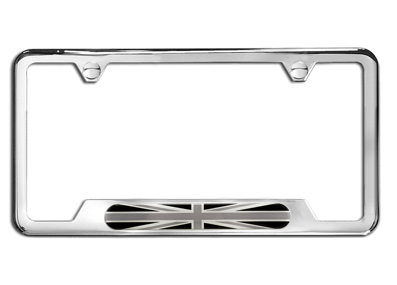 License Plate Frame Union Jack Polished Stainless Steel