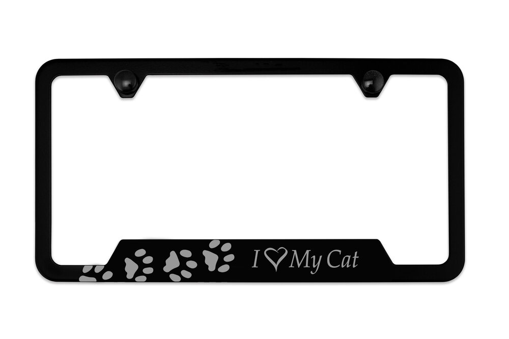 I Love My CAT paw print License Plate Frame