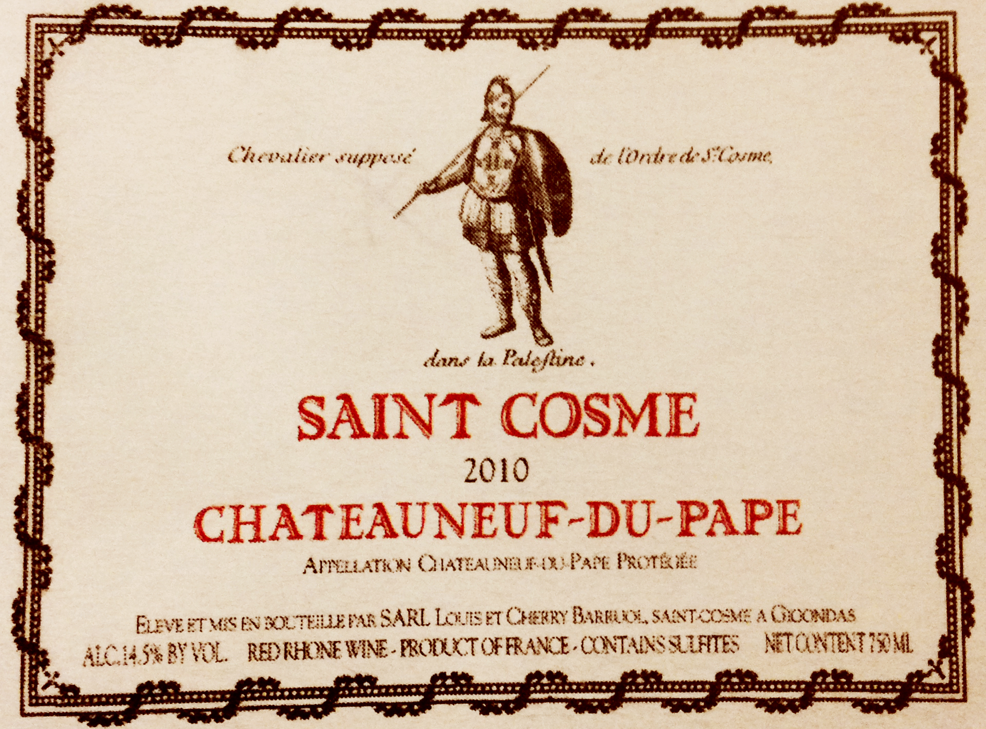 Saint Cosme Chateauneuf-du-Pape 2010, 3.jpg