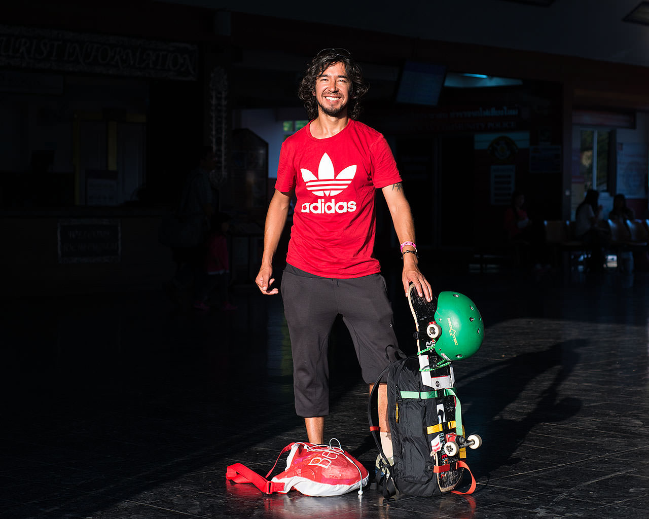 """""""This skateboard is my girlfriend. She goes with me everywhere. I say, 'Hey, let's go!' She says, 'No problem!'""""   """"Does she have a name?""""   """"No, no name. Just my skateboard.""""  — Felix (Chile)  [Portrait created in Chiang Mai, Thailand]"""