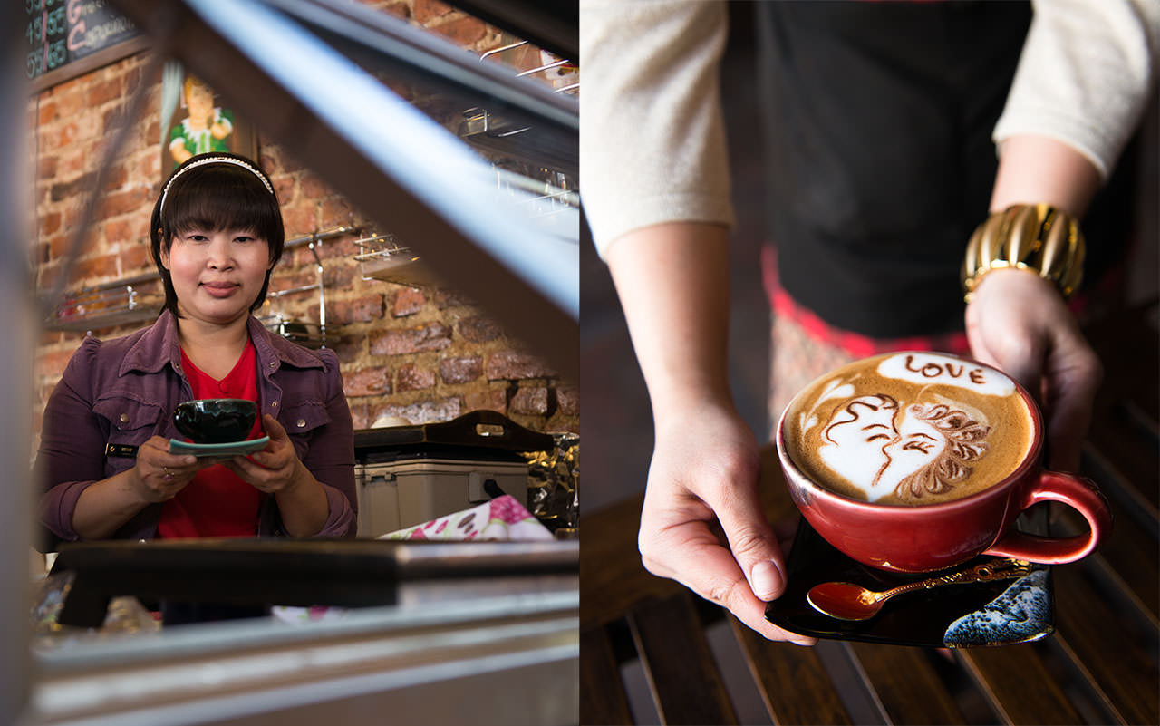 """""""My passion is coffee and latte art. My dream is to have my own small home, a happy family, and my own coffee shop.""""  — Meaw (Thailand)"""