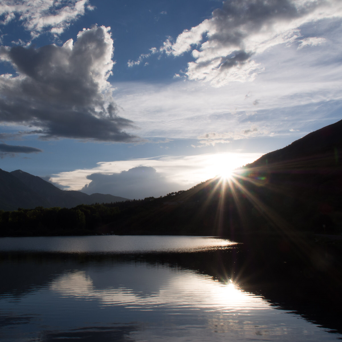 Sunset over a high altitude lake in the Colorado Rockies