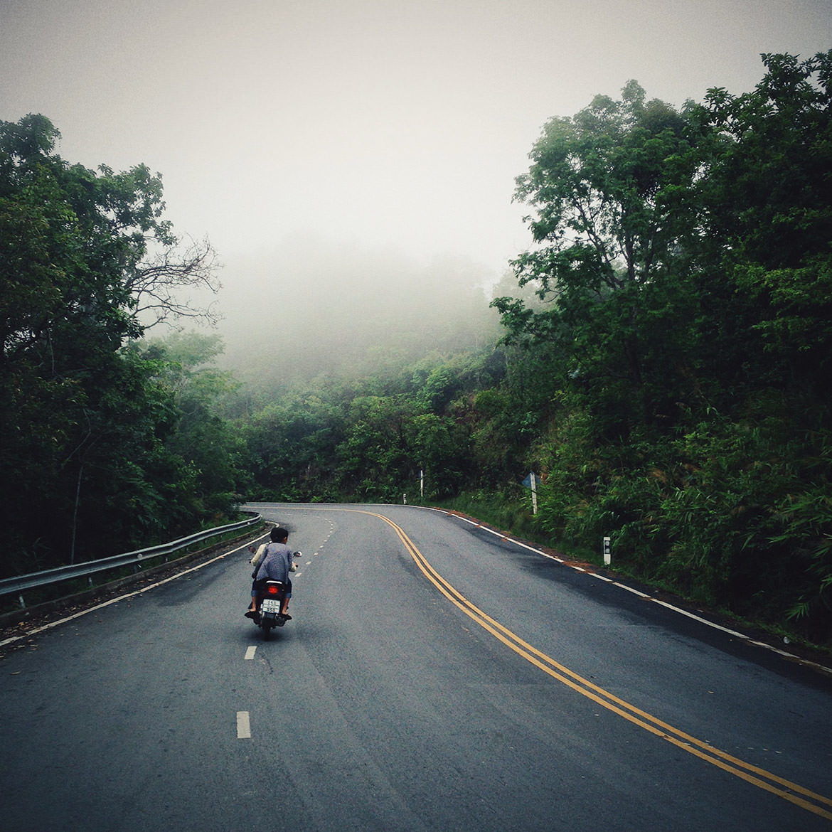 The road up Doi Suthep Mountain in Chiang Mai, Thailand