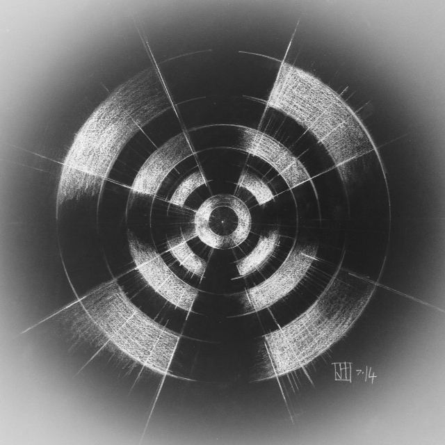"""RDIOGLXY Icon study, graphite on paper, image size 10 x 10"""", shown with inverted filter"""