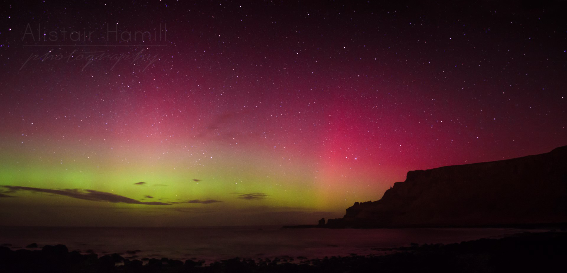 That famous Causeway headland bathed in a glorious auroral display.