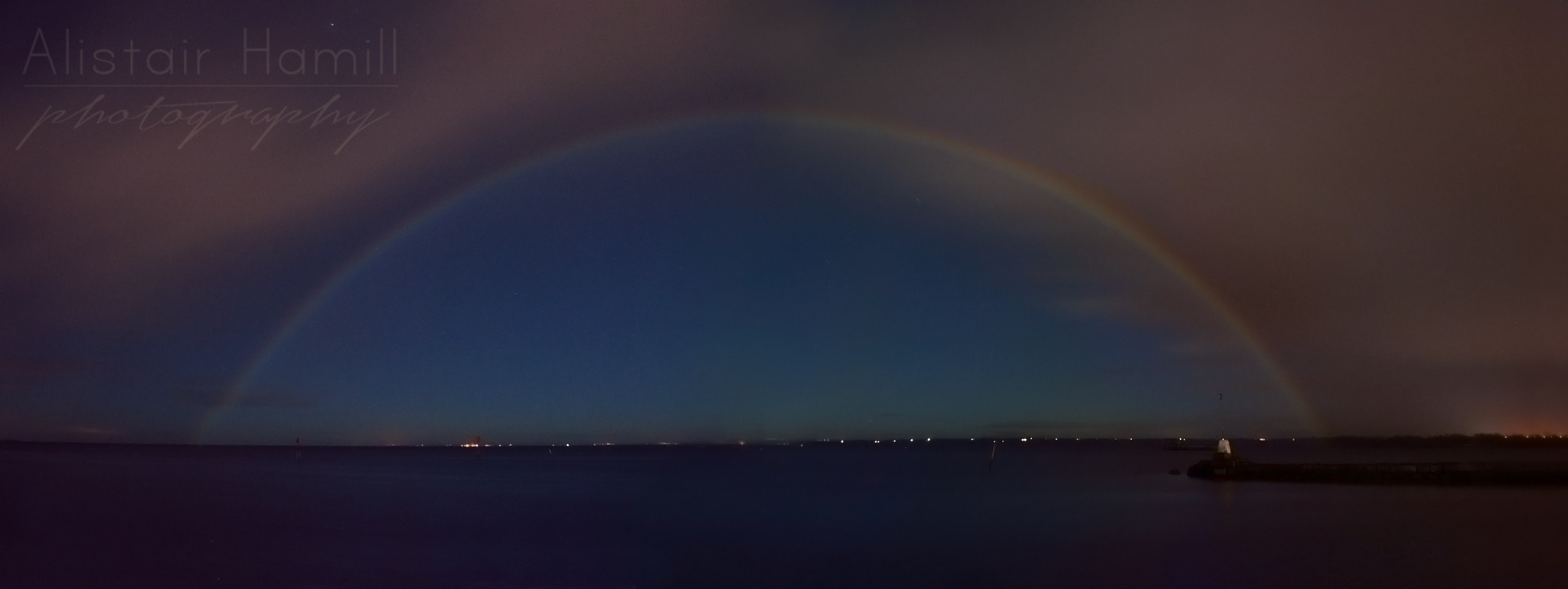 A moonbow over Lough Neagh