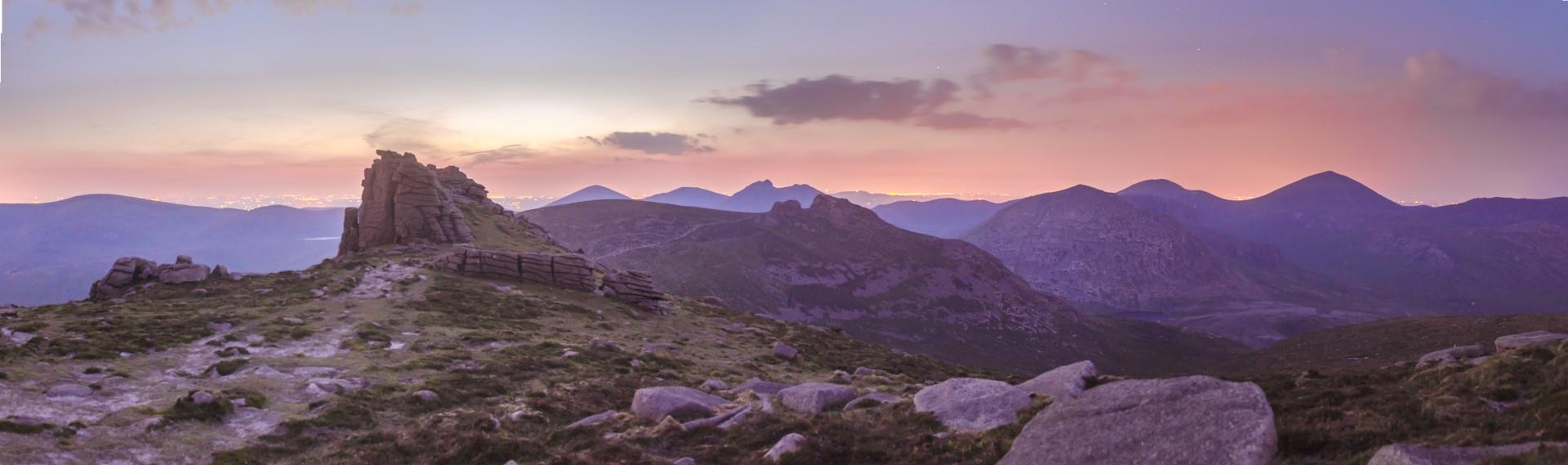 Twilight on top of Slieve Binnian at around 11.30 pm