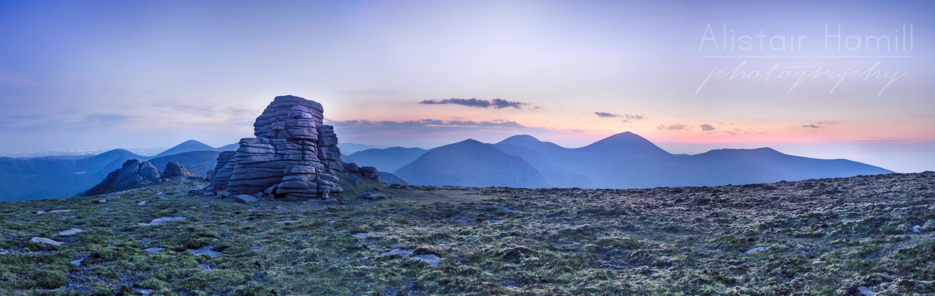 The tor that we sheltered in during the night, emerging from the darkness in the first light of dawn