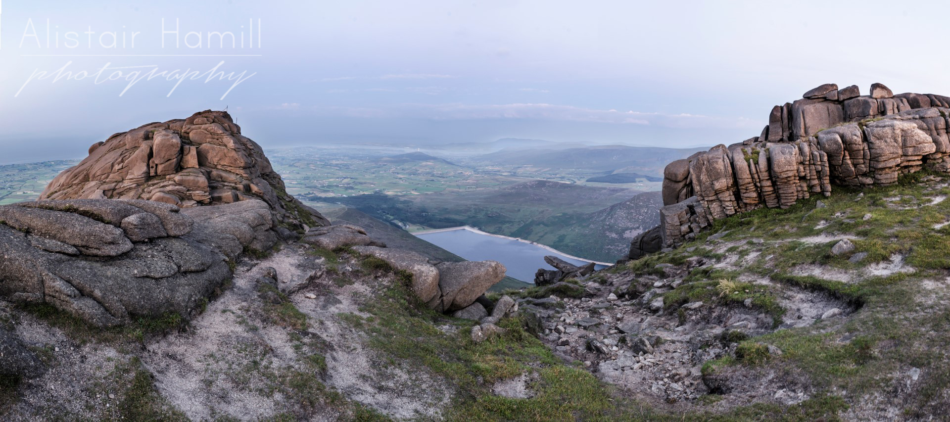 Silent Valley reservoir, as glimpsed from between two of the south tors.