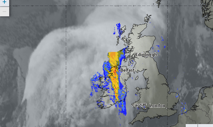 The satellite image for Wednesday night, showing the higher cirrostratus cloud over the east of N. Ireland and the thickening cloud and rain coming in from the west. (Source: Met Office)