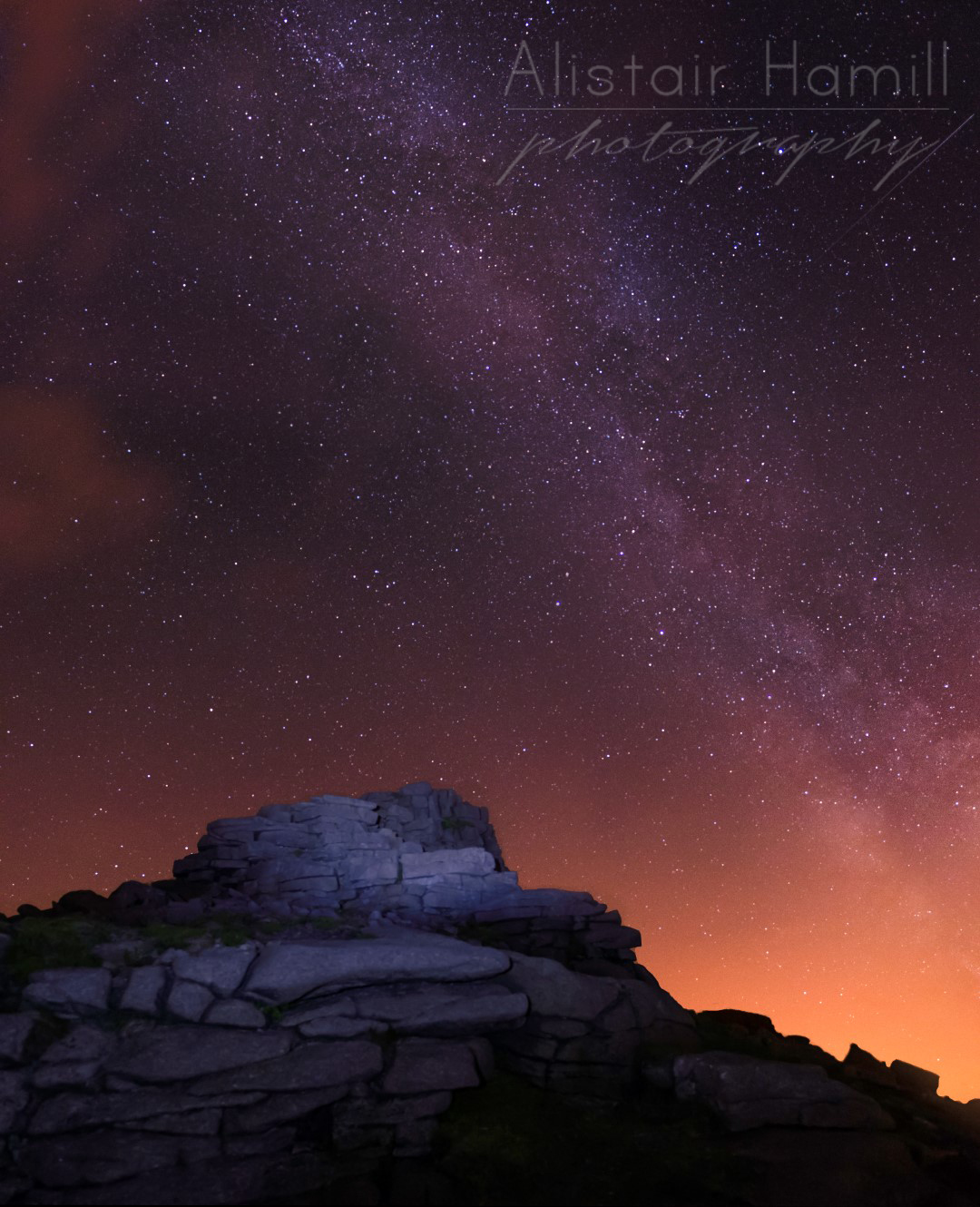 One of Binnian's tors at around 1.00 am with the Milky Way stretched above