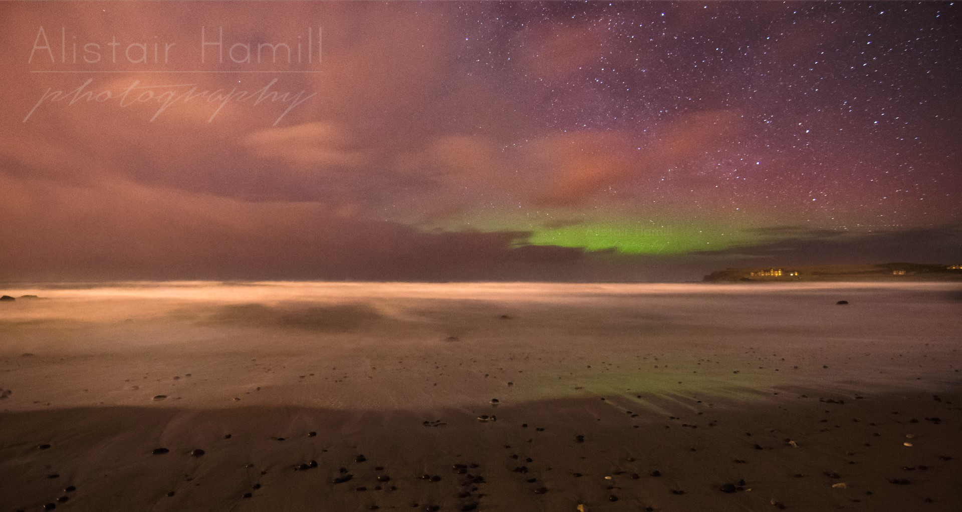 Runkerry Beach, with a hint of aurora green reflecting in the swash