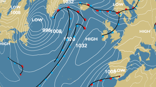 A weak occluded front is due to pass south tomorrow (Source: BBC Weather)