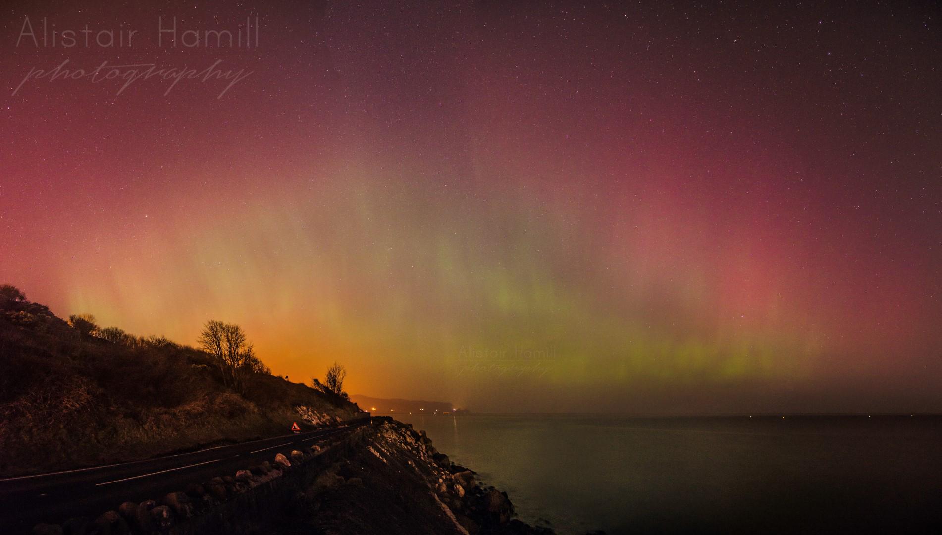 St Patrick's Day aurora Glenarm Pano 2 (Large) wm.jpg