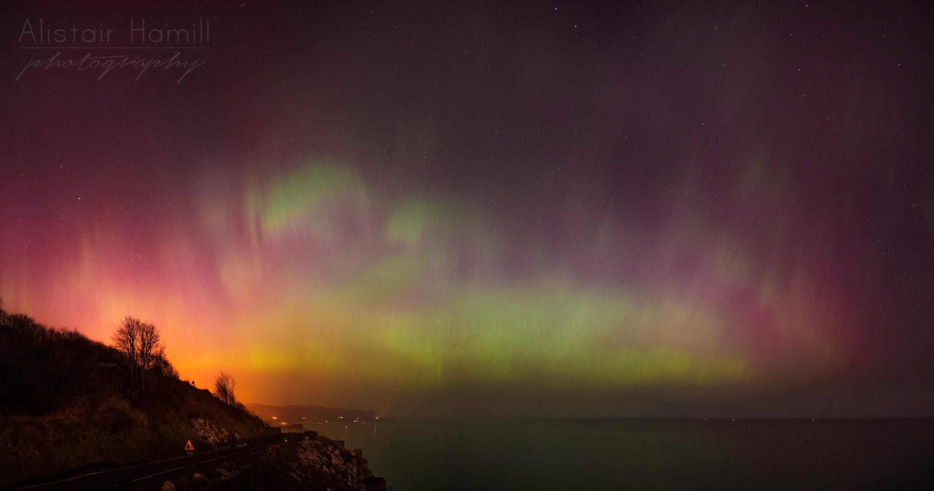 St Patrick's Day aurora Glenarm Pano (Large) wm.jpg