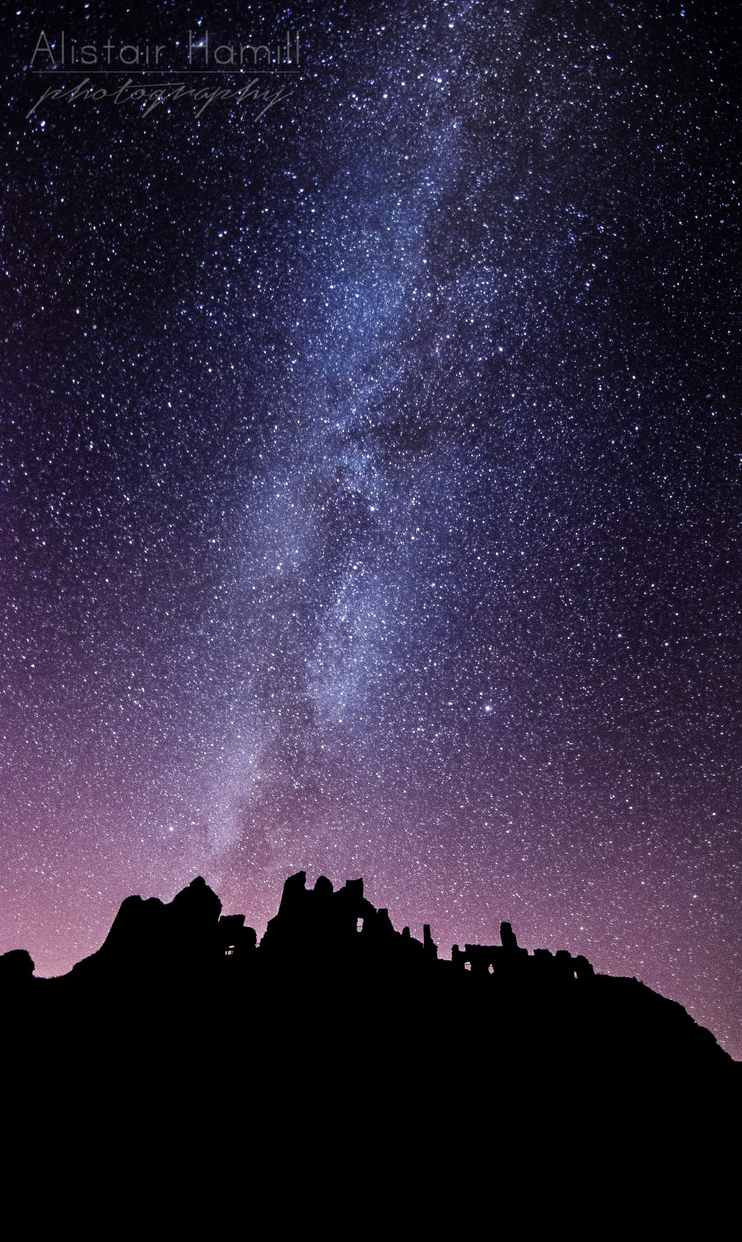The Milky Way rising above Dunluce Castle. Click on this image to view it all in one screen.