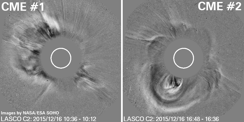 Satellite images showing the two CMEs. The blank disc in the centre is the sun - the contoured areas around it represent the CMEs emerging from the sun.