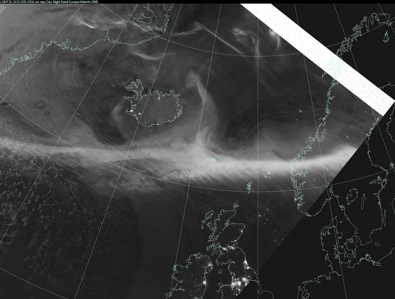 The dnb image from the aurora display - note how the auroral oval has moved south of Icelaand, much closer to the UK. That's one of the reasons for the elevated oval.