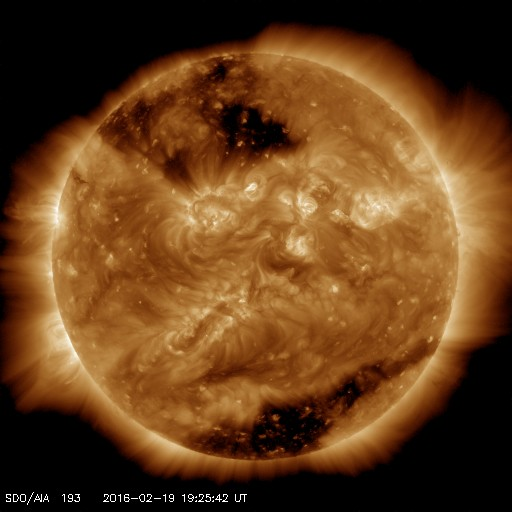 There are two huge coronal holes visible on this solar image from 19th February. The one that produced the activity around the 17 February is the one to the southern pole of the sun.