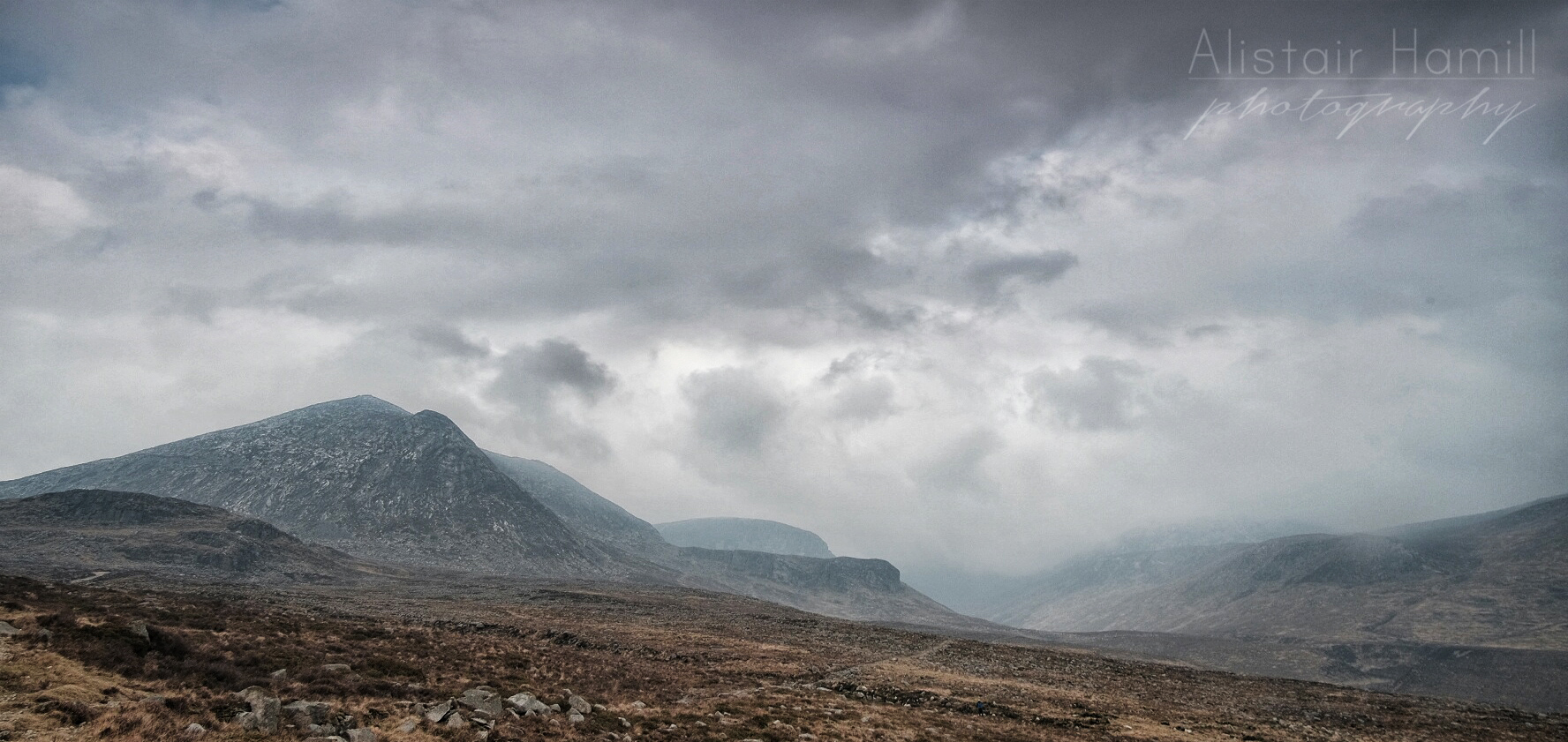 Lamagan and the Annalong Valley. Donard is hidden in the cloud in the background.