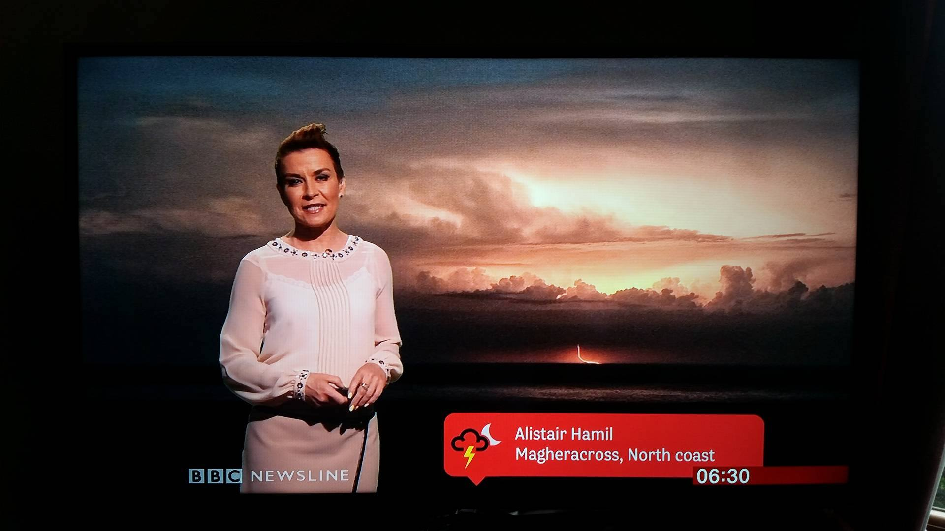 My photo featuring on BBC Newline's weather forecast (thanks to Chris Ibbotson for taking this photo for me!)