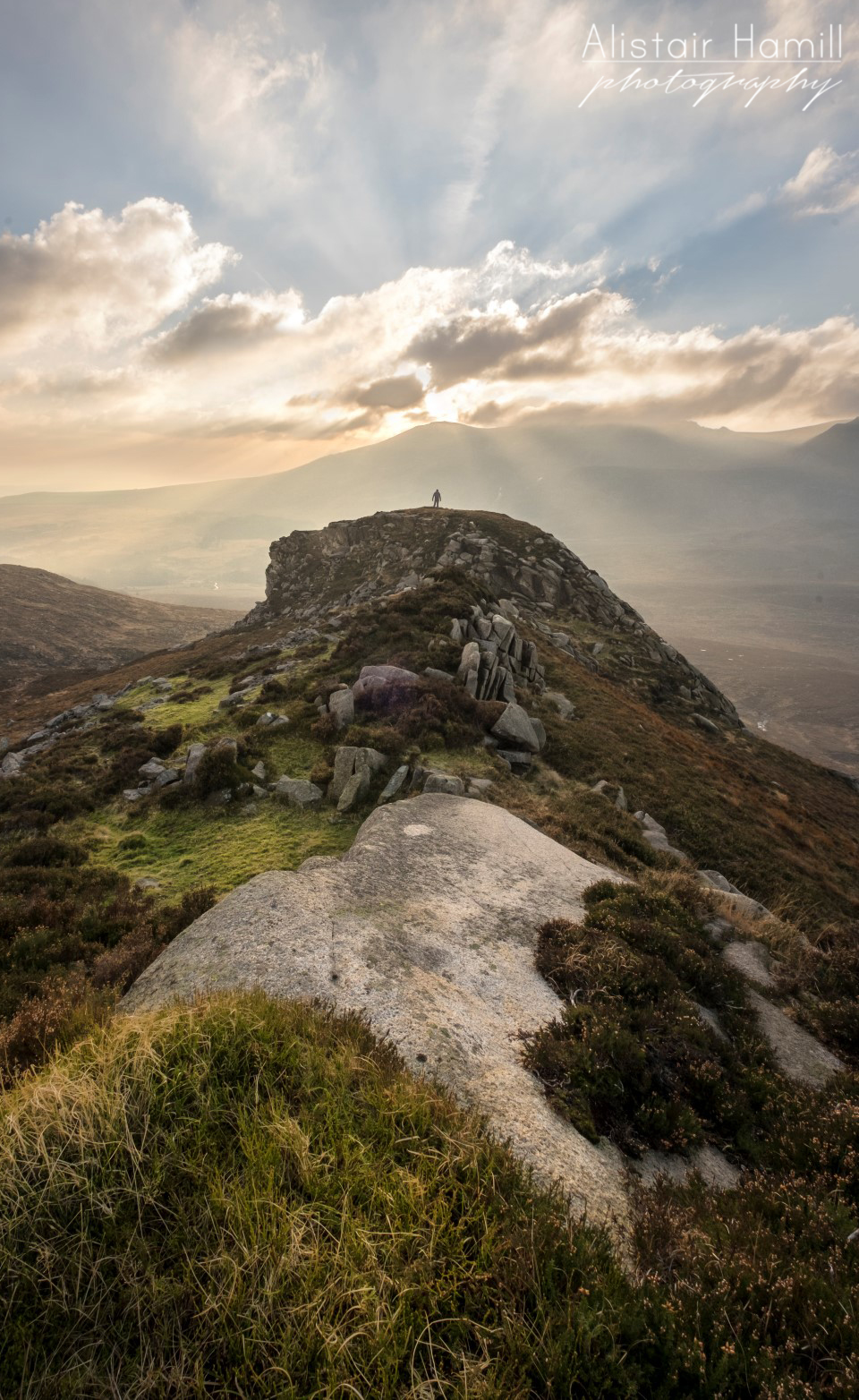 A wonderful crepuscular display in the heart of the Mournes.