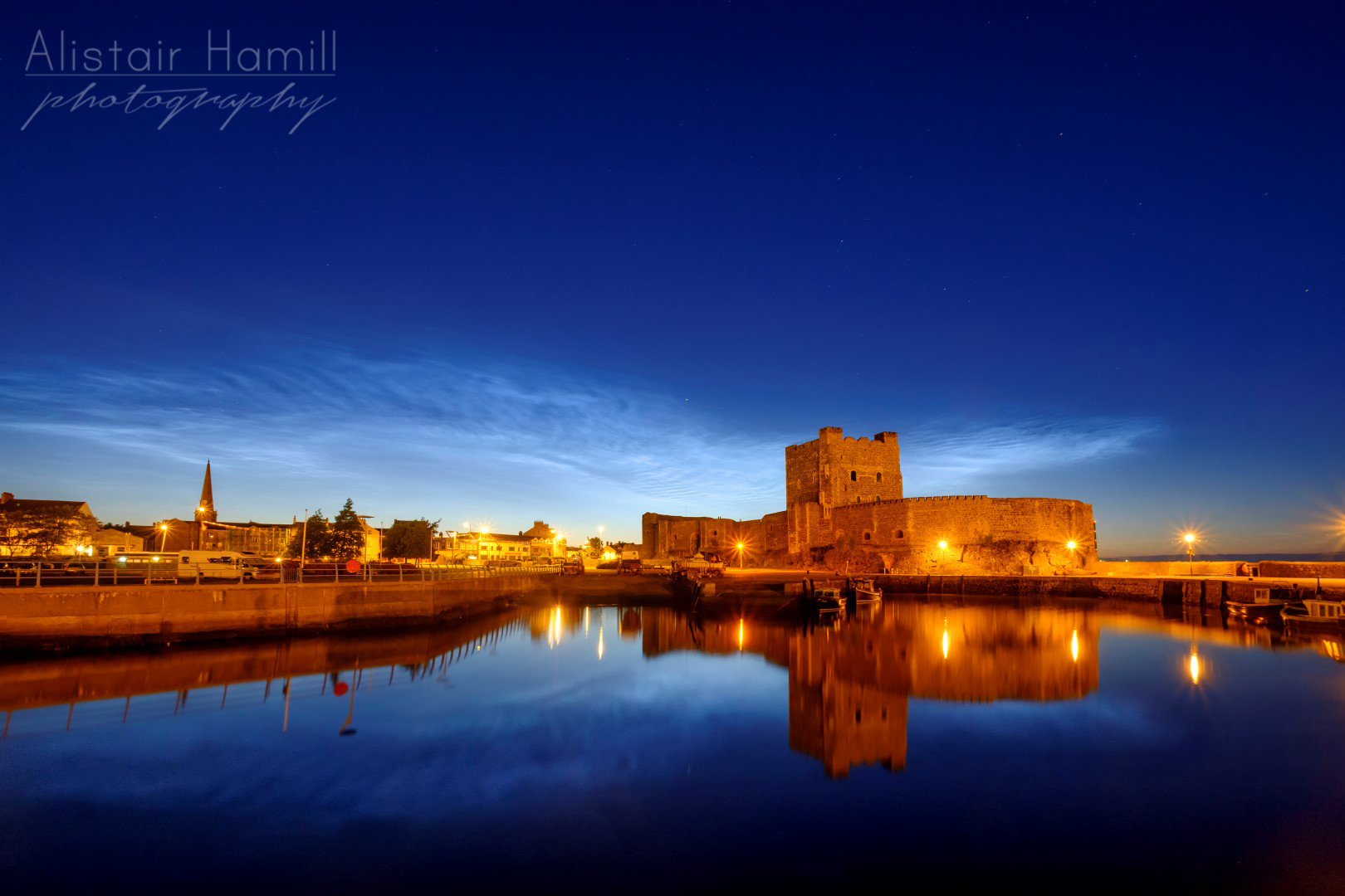 Gravity waves causing the distinctive ripples of the noctilucent clouds above Carrick Castle.