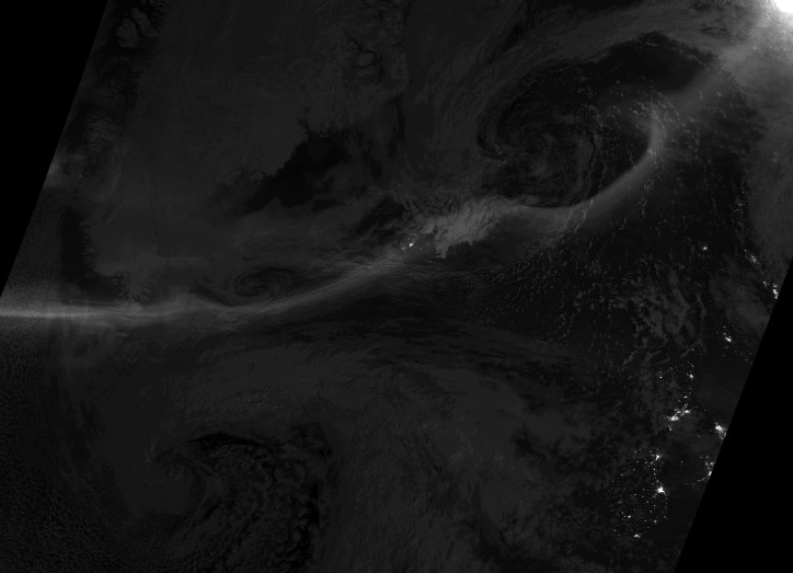 The DNB Satellite image of the aurora band (light grey line) to the north the the British Isles (bottom right corner)