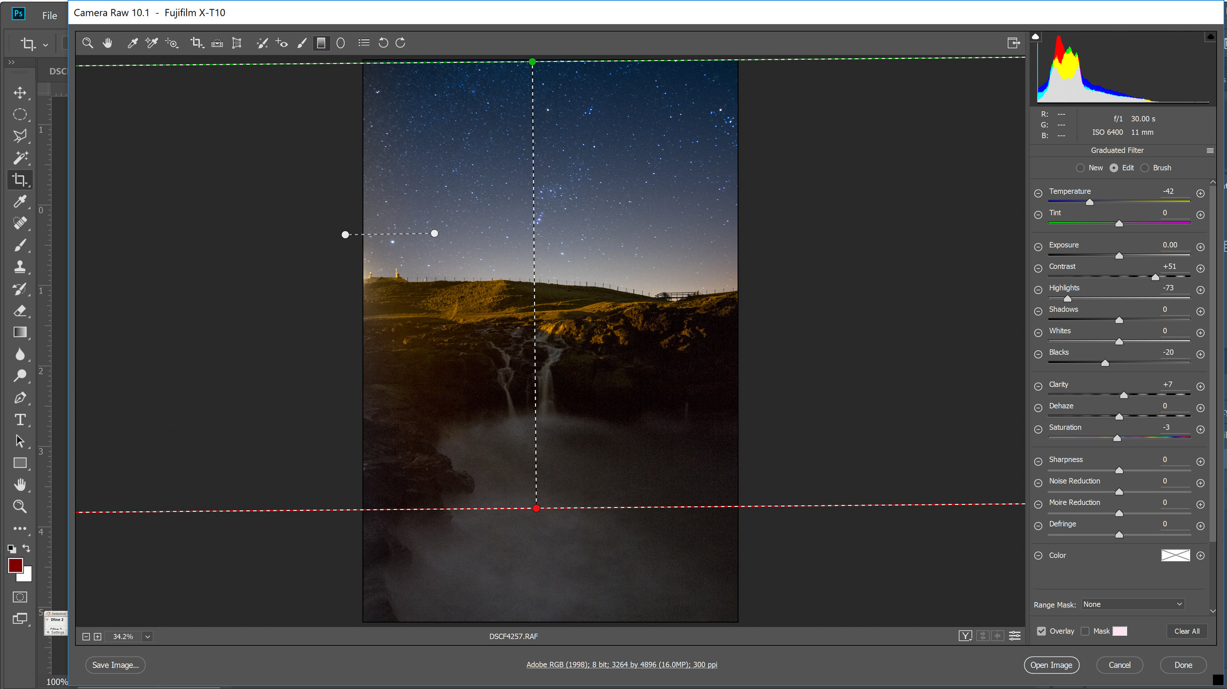 This screen shot shows how I used two Gradient Adjustments: (1) one vertical for the sky, with the settings shown (2) one horizontal one to try to reduce the light pollution from the street lamp.