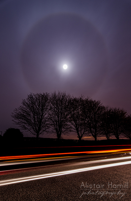 22 degree halo and some car trails