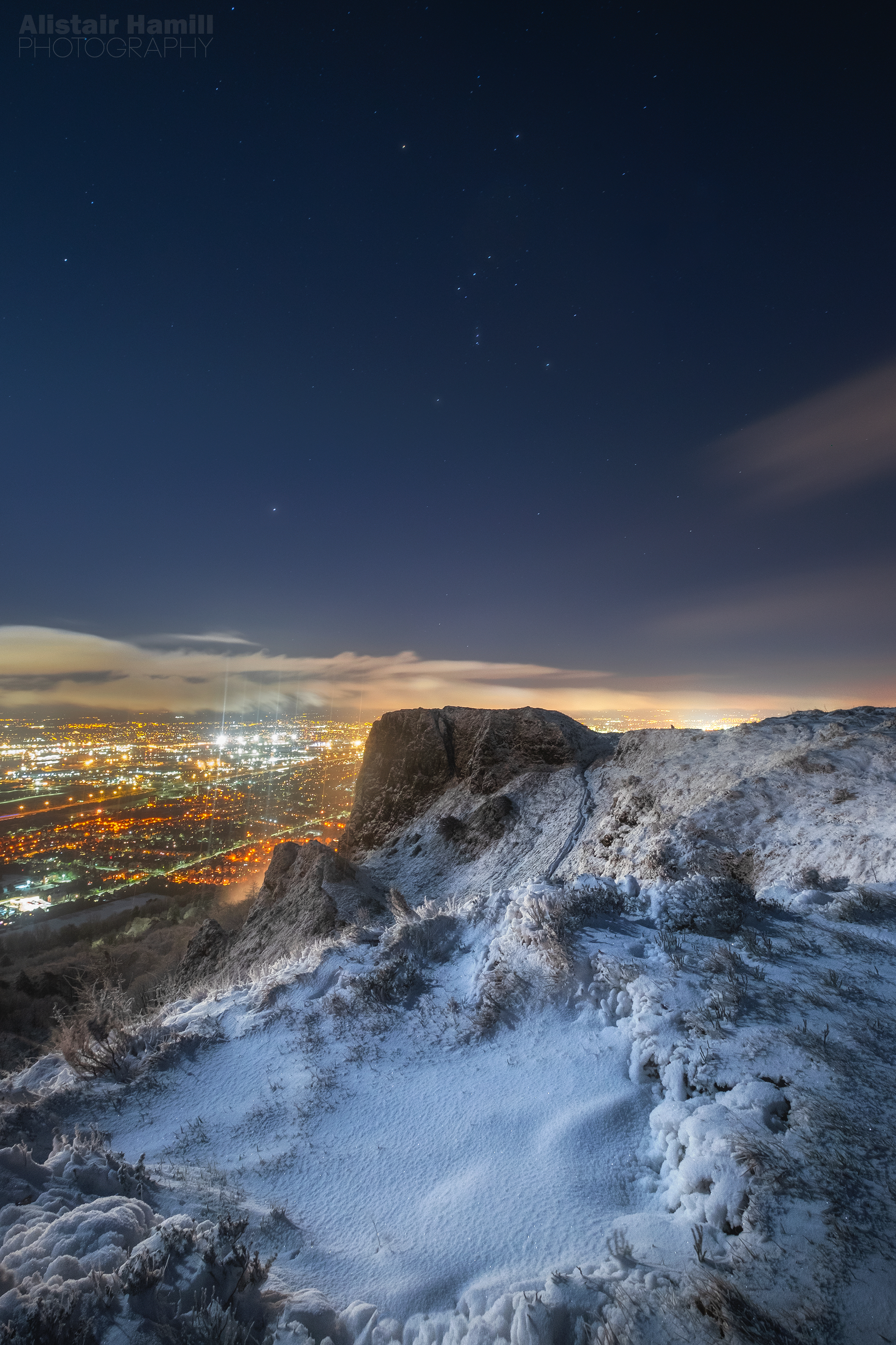 Orion above a snowy Cavehill