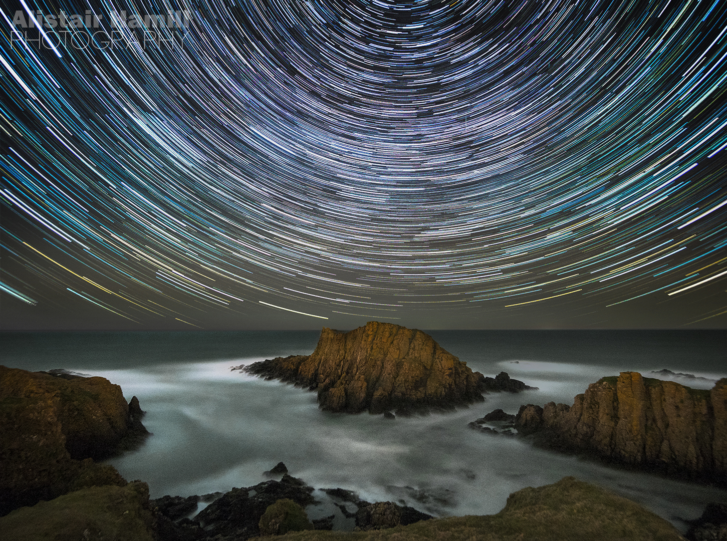 Star trails at Ballintoy