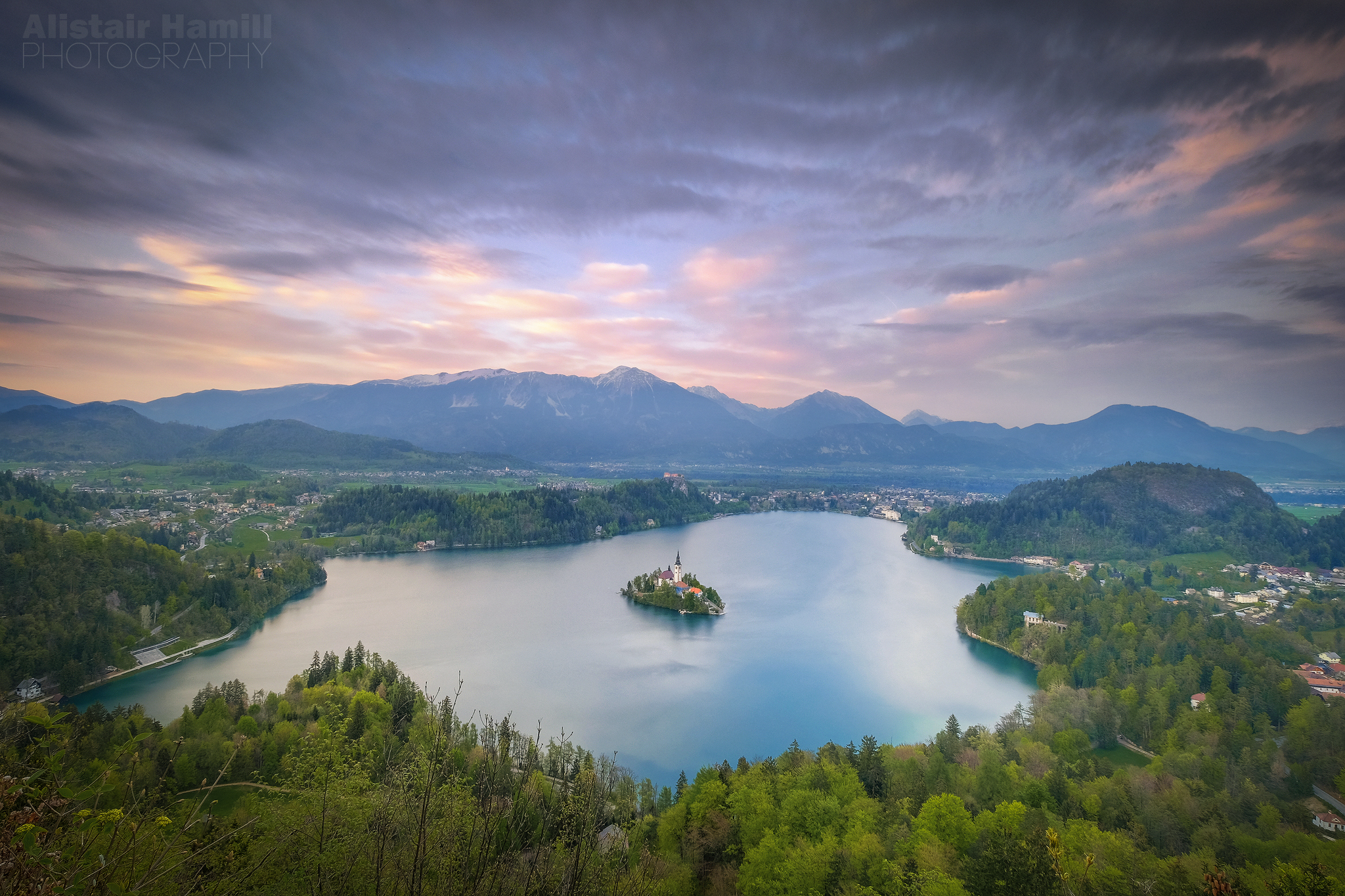 Bled sunset from above version 3 (large) WM.jpg