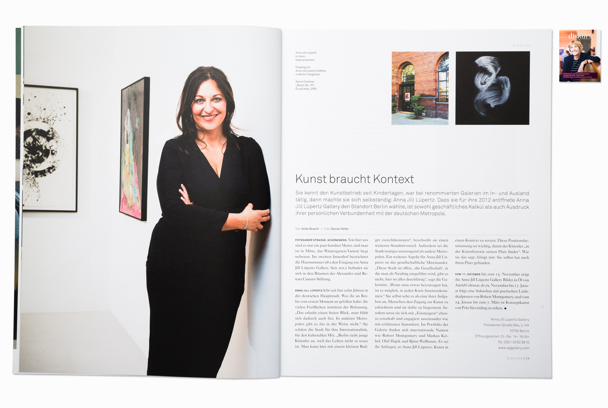 Gallery owner Anna Jill Luepertz for Diskurs magazine, Berlin 2014