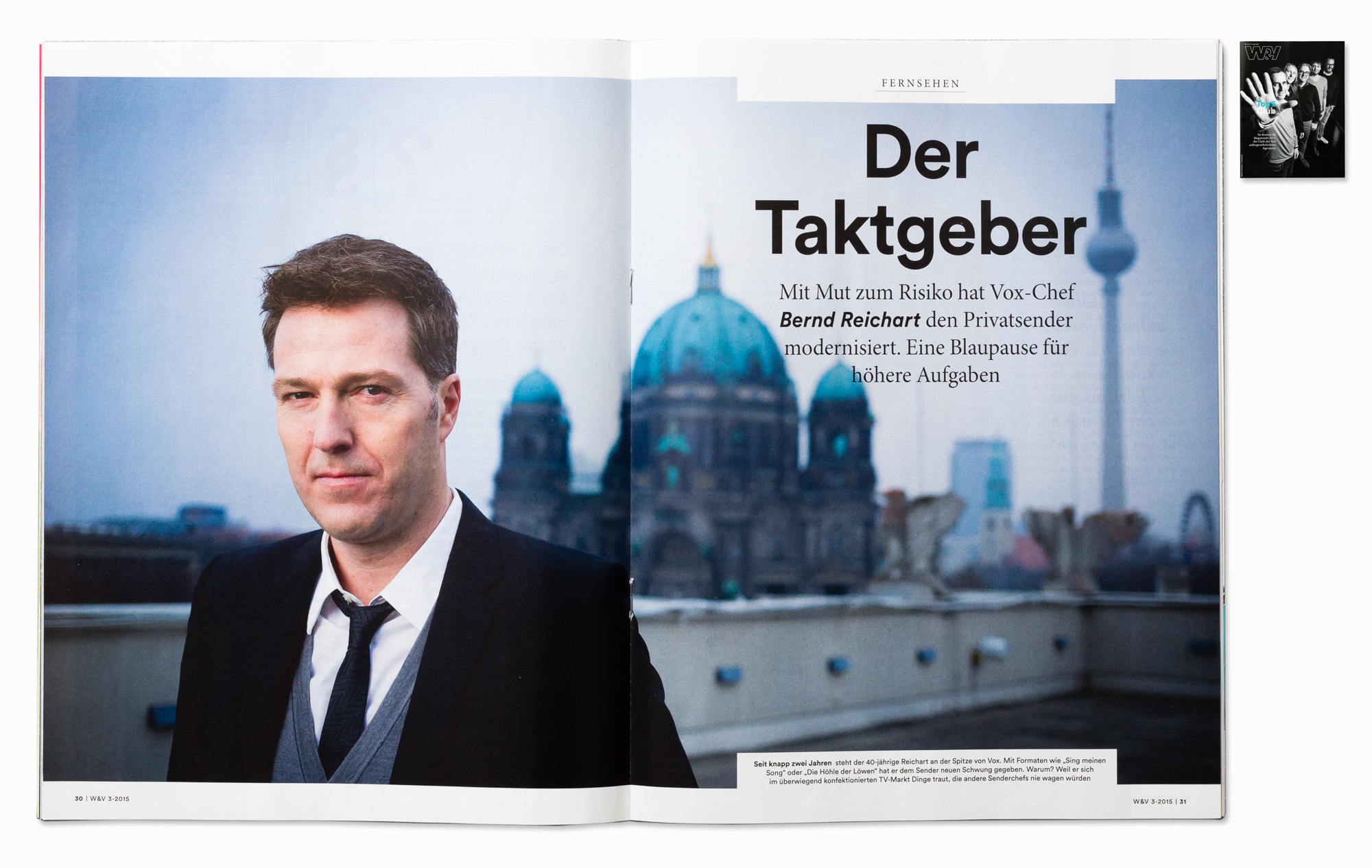 VOX TV Germany CEO Bernd Reichart for W&V Magazine, Berlin 2014