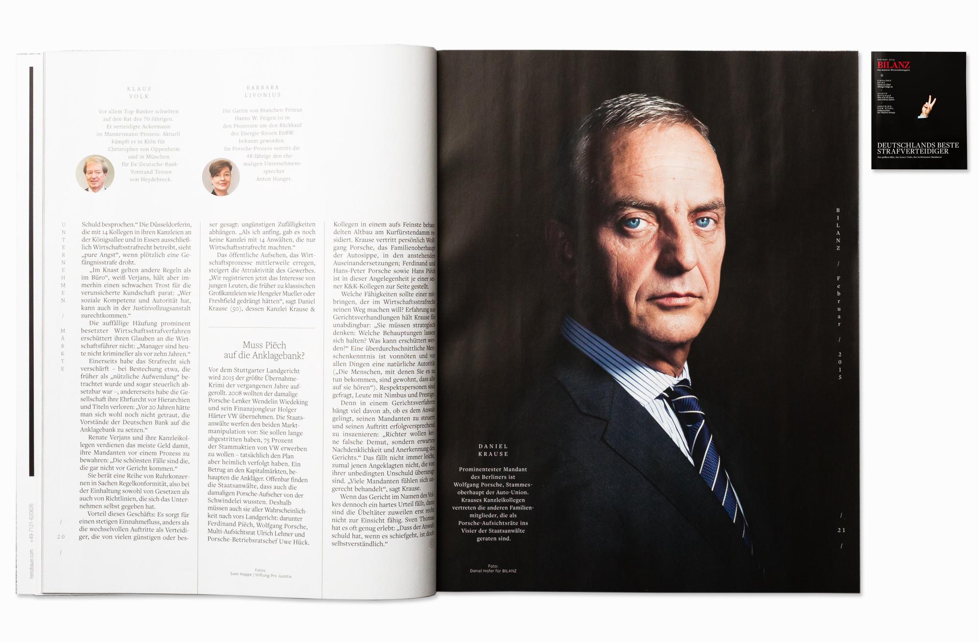 Defense attorney Dr. Daniel Krause for Bilanz Magazine, Berlin 2015