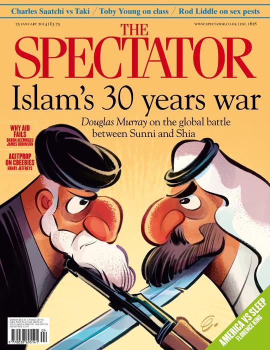 """""""Sunni Vs. Shia"""" Cover art for The Spectator (UK) -- Illustration © Anton Emdin 2014.  All rights reserved."""