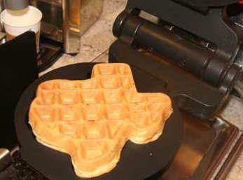 Enjoy a freshly made waffle that is in the shape of our great state!