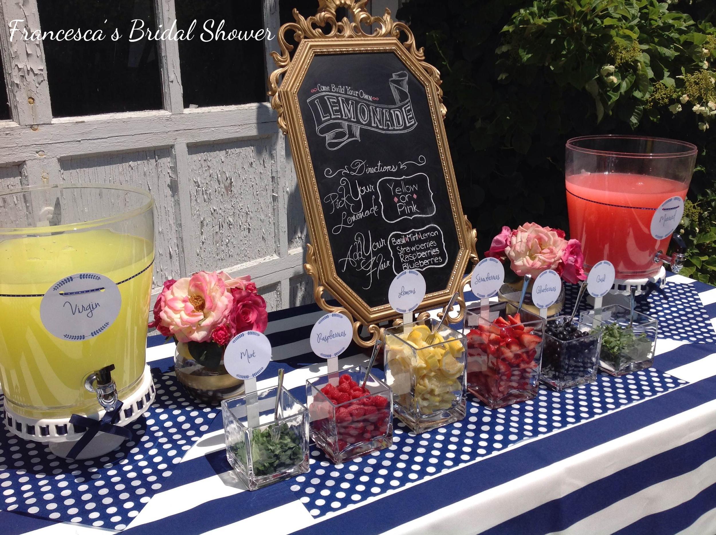 Parsimony Vintage- Event Planning-Spring Bridal Shower Make Your Own Lemonade Table