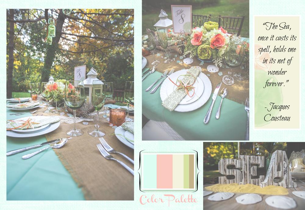 beach theme wedding decor inspiration color palette