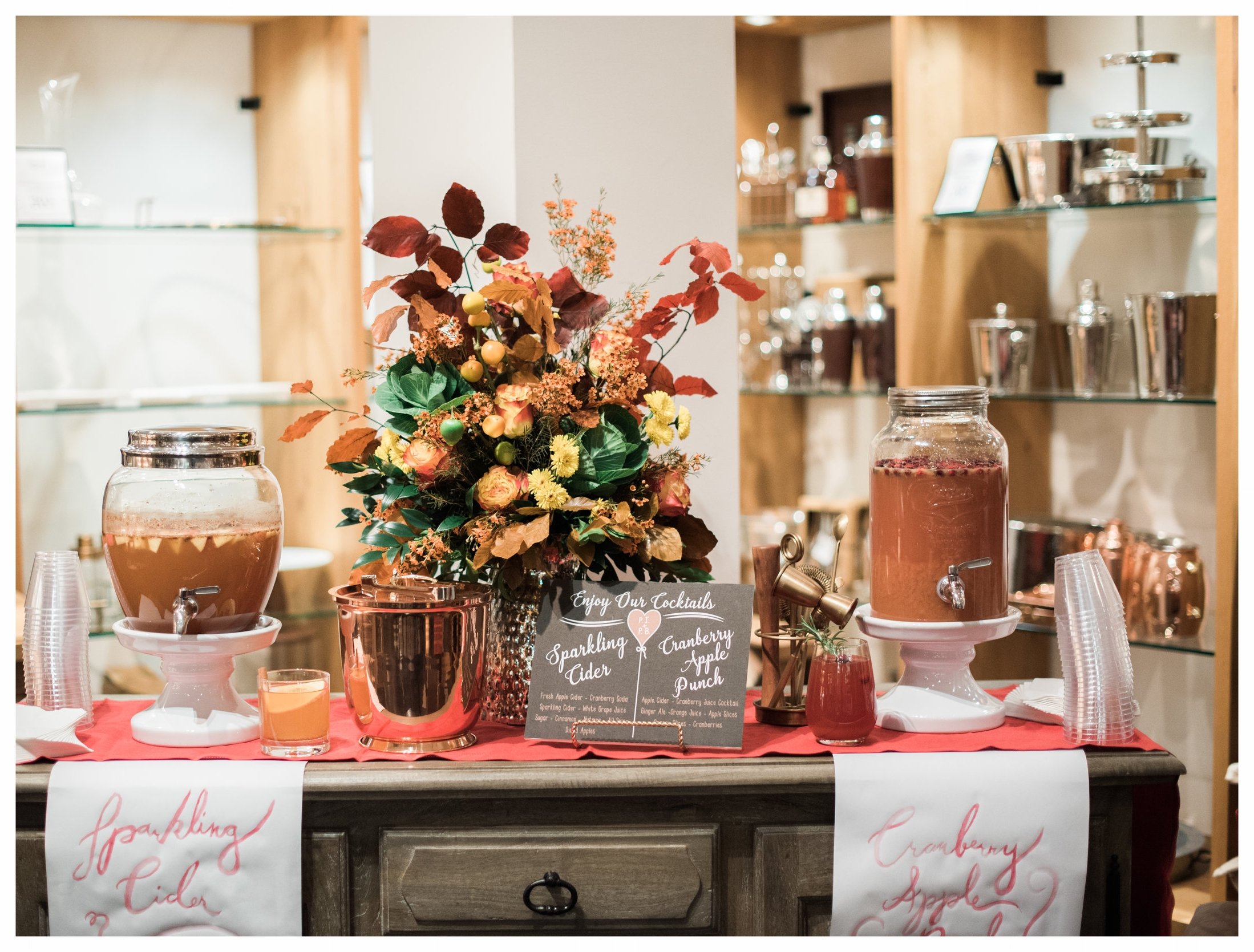 Here is our Fall Drink bar from the Night at the Registry Event with Pottery Barn in October. Photo Credit:  Melanie Zacek Photography