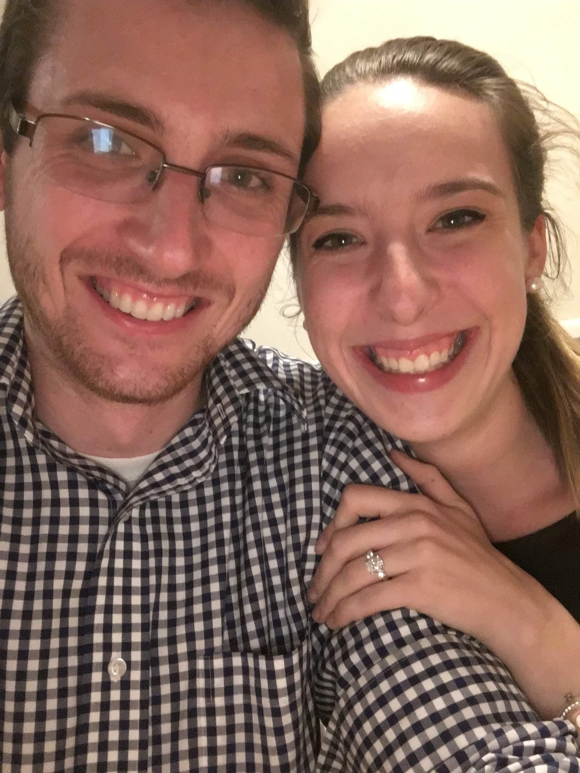 "Our ""we're engaged"" selfie!"