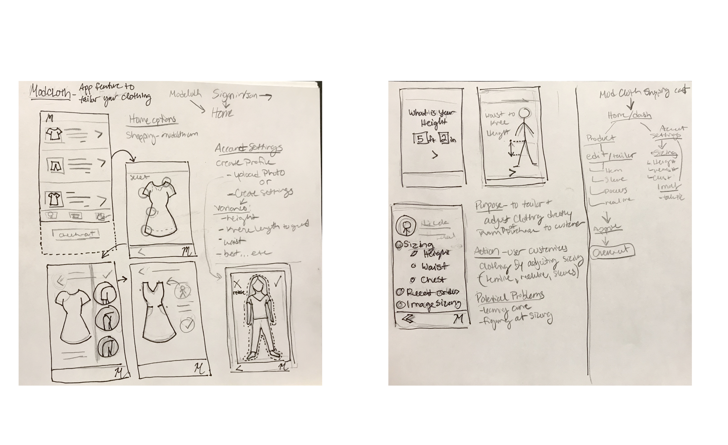 Early sketches and application mapping