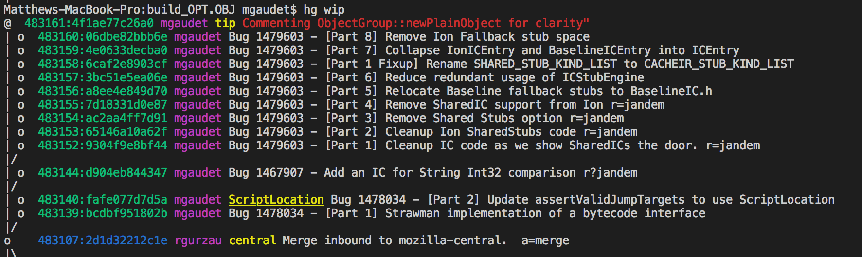 Green Hashes are draft revisions; blue are public. The red text highlights the current working directory parent, and yellow text are bookmark names.