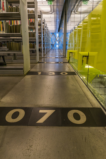 On my way back down now.  How cool is it that they embedded the Dewey Decimal numbers in the floor like this?