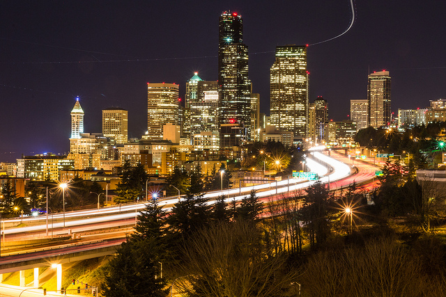 A 239 second exposure. I love how I caught the airplane in this.