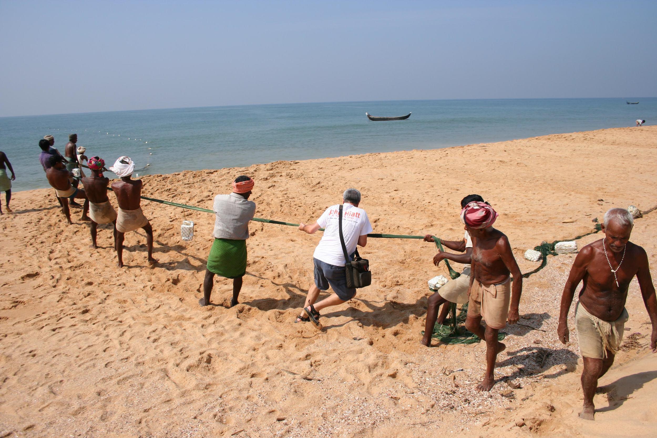 Pulling in Fishing Net, Kerala, India