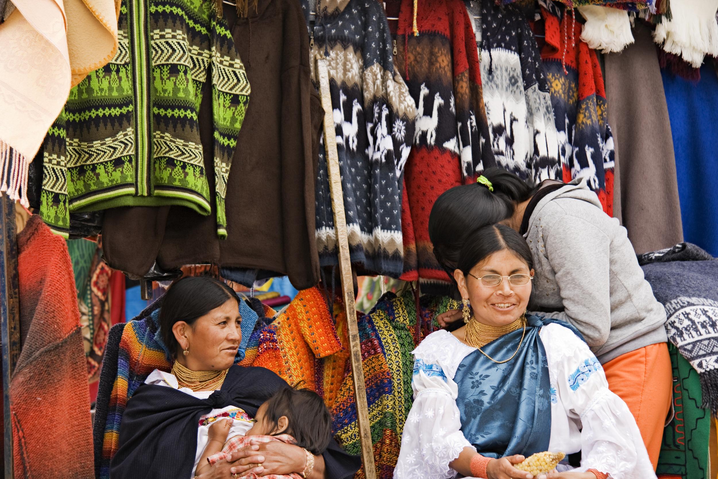 Otavalo Market, black textiles